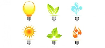 Eco lamp vector logo templates