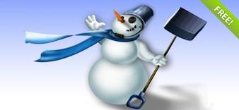 Gelaagde PSD Snowman Illustratie
