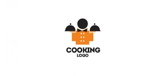 Gourmet logo vector ontwerp voor het koken restaurants en bars