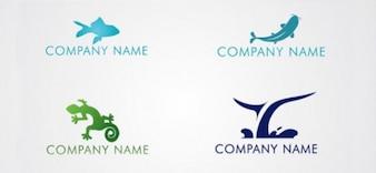 Gratis dier logo ontwerp sjabloon set