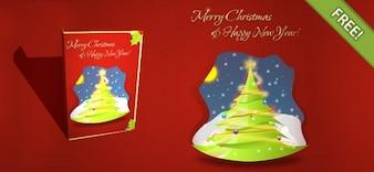 Gratis Gelaagde Kerstkaart