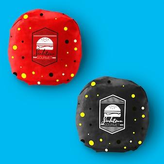 Hamburger verpakking mock up ontwerp