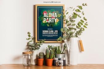 Hangende frame mockup met planten