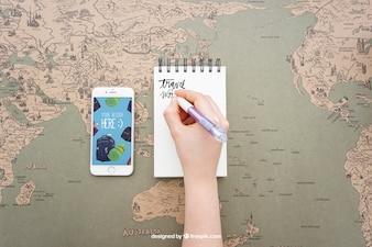 Het schrijven op blocnote en smartphone