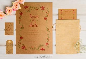 Leuke kartonnen bruiloft set
