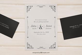 Mock up voor bruiloft uitnodigingen