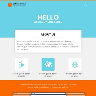 One Page Online Clinic Website Design PSD