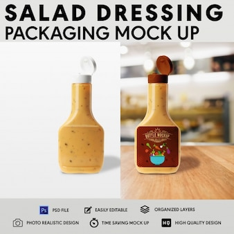 Salade dressing verpakking mock up