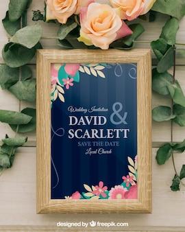 Sjabloon, frame, bloemen en bladeren