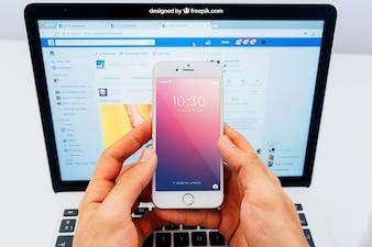 Smartphone en laptop mockup