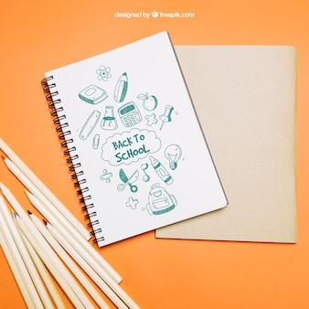 Terug naar school sjabloon met notitieboekje