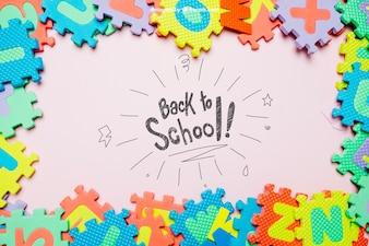 Terug naar school sjabloon met puzzelzaag