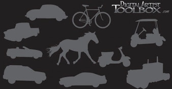 10 vervoer silhouetten