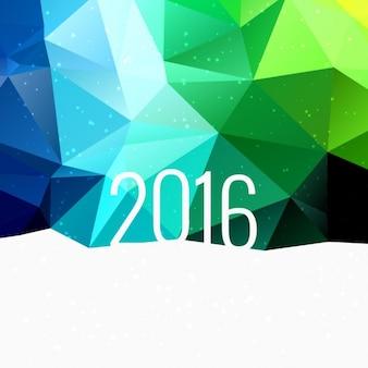 2016 in kleurrijke laag poly achtergrond