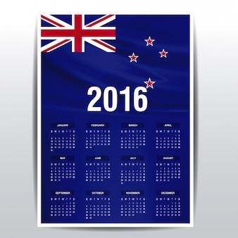 2016 kalender van de vlag van Nieuw Zeeland