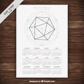 2017 nieuwe jaarkalender sjabloon met geometrische vorm