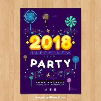 2018 feestafdruk met vuurwerk