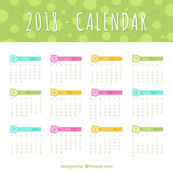2018 kalender sjabloon met gekleurde elementen