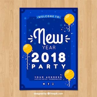 2018 nieuwjaar poster met ballonnen in plat ontwerp