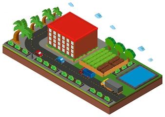 3D-ontwerp voor gebouw en weg