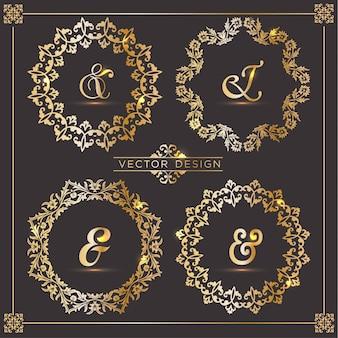 4 Vintage gold frames
