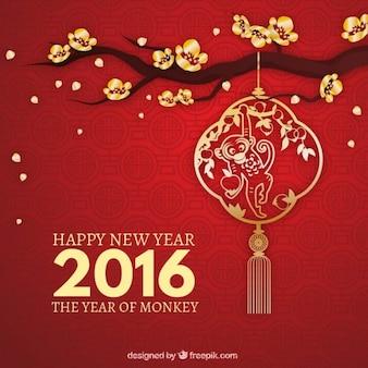 Aap nieuwe jaar achtergrond in rode kleur