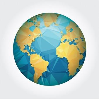 Aarde ontwerp gemaakt van polygonen
