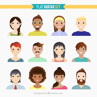 Aardige mensen avatars in plat design