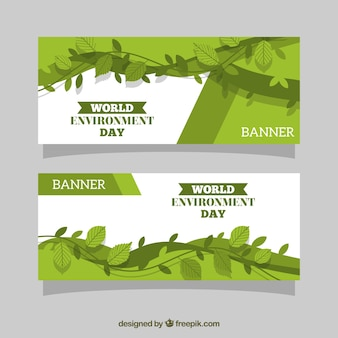 Abstract banners met bladeren