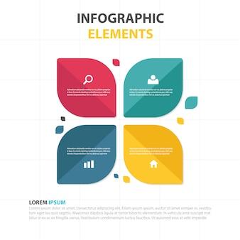 Abstract blad kleurrijke visite infographic template