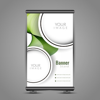 Abstract golvend roll up banner stand ontwerp