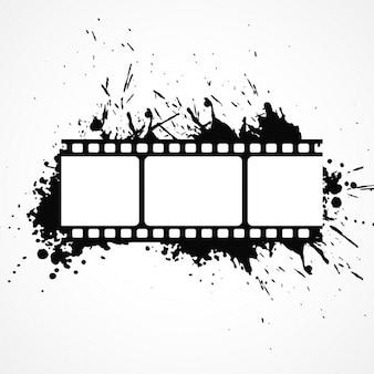 Abstracte 3D-film strip achtergrond met zwarte inkt effect