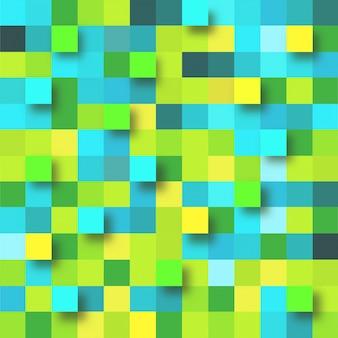 Abstracte achtergrond met groene en gele papieren pleinen.