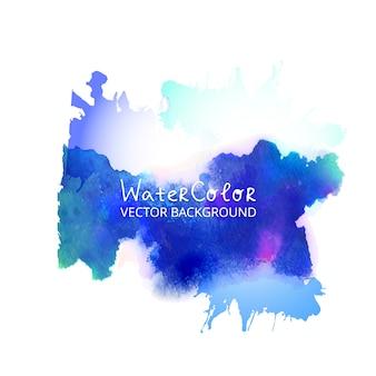 Abstracte aquarel splash Blauwe waterverf druppel op een witte achtergrond