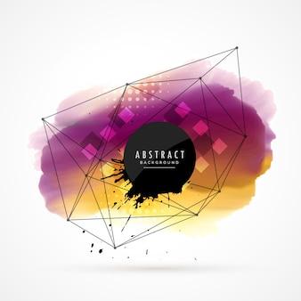 Abstracte aquarel vlek achtergrond met netwerk lijnen