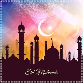 Abstracte Eid mubarak kleurrijke aquarel achtergrond