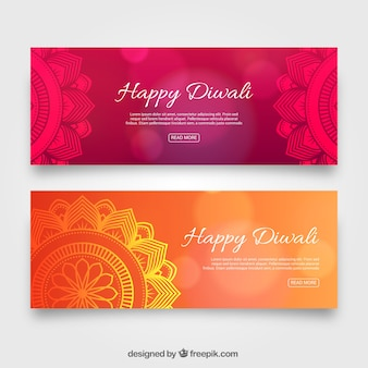 Abstracte elegante diwali banners
