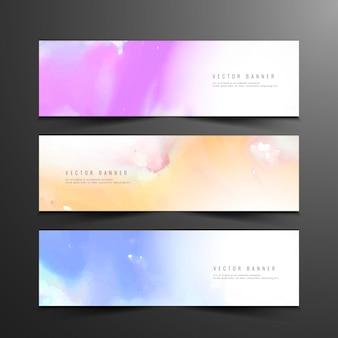Abstracte kleurrijke aquarel banners
