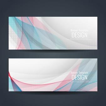 Abstracte kleurrijke golf banners