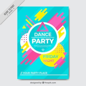 Abstracte kleurrijke partij brochure
