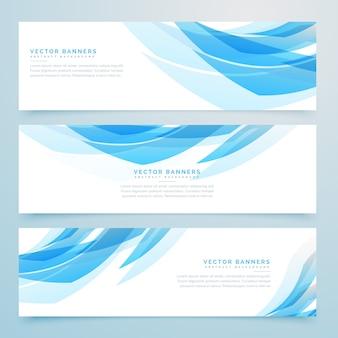 Abstracte lichtblauwe banners set design