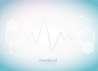 Abstracte medische en gezondheidszorg achtergrond met hartslag en zeshoekige vorm moleculen