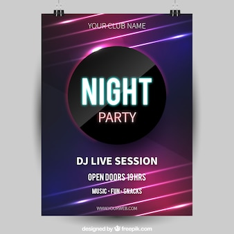 Abstracte nigth party poster met cirkel