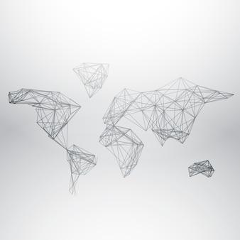 Abstracte wereld kaart gemaakt met het netwerk van lijnen