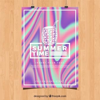 Abstracte zomerfeest poster met holografisch effect