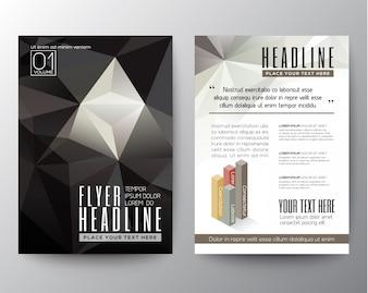 Abstracte Zwarte Driehoek Geometrische Brochure Flyer ontwerp lay-out vector template