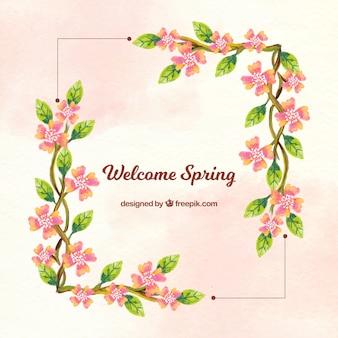 Achtergrond frame met bloemen aquarel informatie