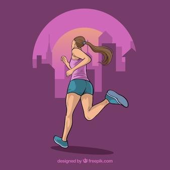 Achtergrond met illustratie van meisje lopen