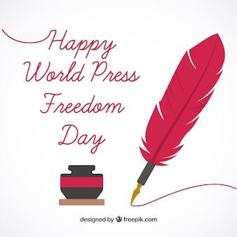 Achtergrond met inktpot en pen van de Werelddag van de persvrijheid