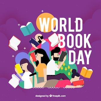 Achtergrond met mensen en boeken illustratie